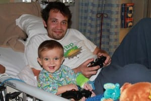 Riley and his dad enjoying a fun afternoon of video games!